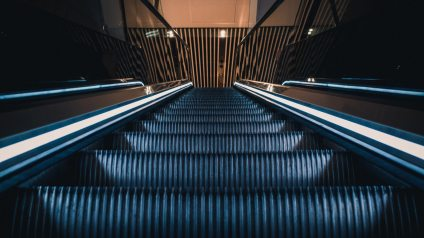 Looking down escalator