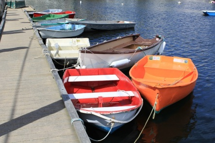 Multi-colored rowboats at Rockport -- Nicole Melanson