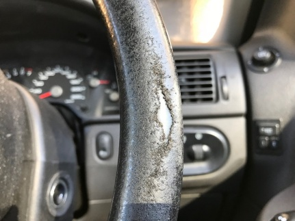 Steering wheel cover showing minor degradation